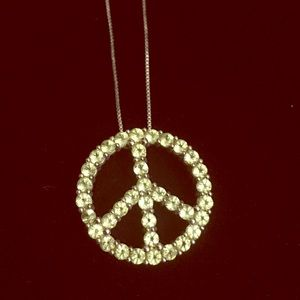 Sterling silver peridot Peace Sign Necklace